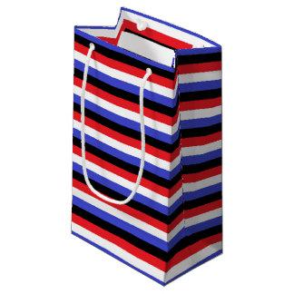 Bolsa De Regalo Pequeña Rayas negras, blancas, rojas y azules