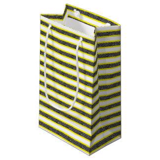 Bolsa De Regalo Pequeña Rayas negras estáticas resumidas amarillo