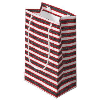 Bolsa De Regalo Pequeña Rayas negras estáticas resumidas rojo