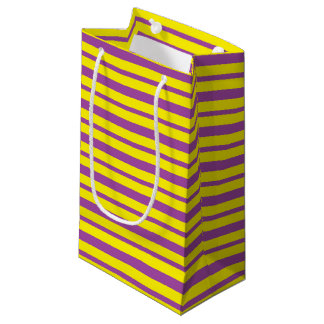 Bolsa De Regalo Pequeña Rayas púrpuras y amarillas gruesas y finas