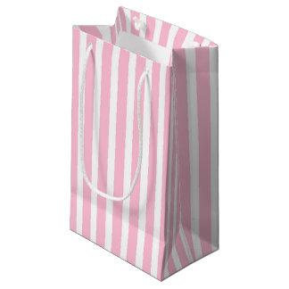 Bolsa De Regalo Pequeña Rayas rosadas y blancas suaves verticales