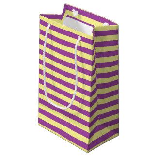 Bolsa De Regalo Pequeña Rayas suavemente amarillas y púrpuras
