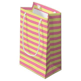 Bolsa De Regalo Pequeña Rayas suavemente amarillas y rosadas