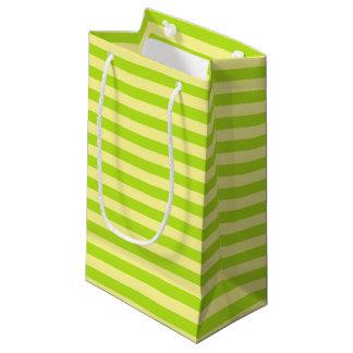 Bolsa De Regalo Pequeña Rayas suavemente del amarillo y de la verde lima