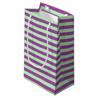 Bolsa De Regalo Pequeña Rayas suavemente verdes y púrpuras