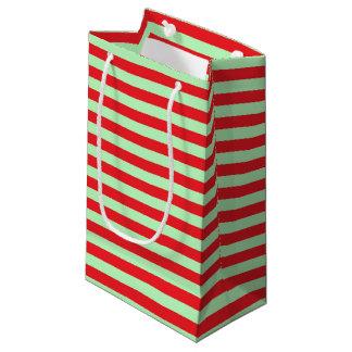 Bolsa De Regalo Pequeña Rayas suavemente verdes y rojas
