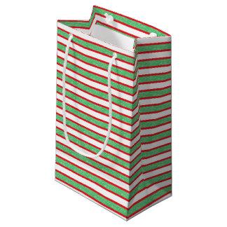 Bolsa De Regalo Pequeña Rayas verdes estáticas resumidas rojo
