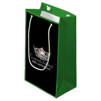 Bolsa De Regalo Pequeña Regalo de plata del verde de la corona de Srta.