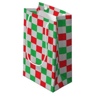 Bolsa De Regalo Pequeña Rojo a cuadros, verde y plata