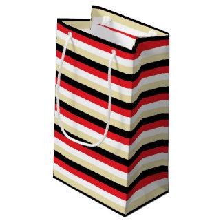 Bolsa De Regalo Pequeña Rojo, blanco, beige y rayas negras