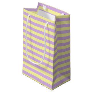 Bolsa De Regalo Pequeña Suavemente amarillo y rayas púrpuras suaves