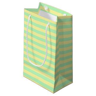 Bolsa De Regalo Pequeña Suavemente amarillo y rayas verdes suaves
