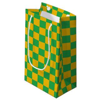 Bolsa De Regalo Pequeña Verde a cuadros y oro
