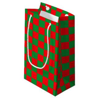 Bolsa De Regalo Pequeña Verde a cuadros y rojo