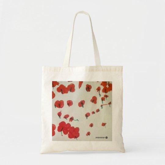 bolsa de tela con campo de amapolas