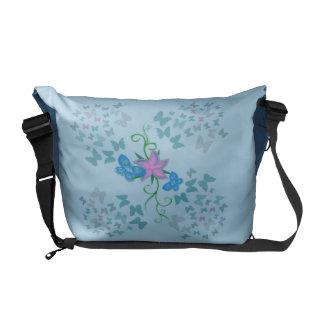 Bolsa Messenger Azul de la mariposa