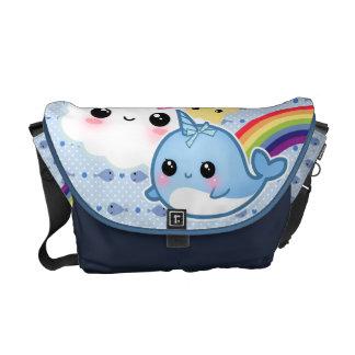 Bolsa Messenger El bebé lindo narwhal con el arco iris y el kawaii