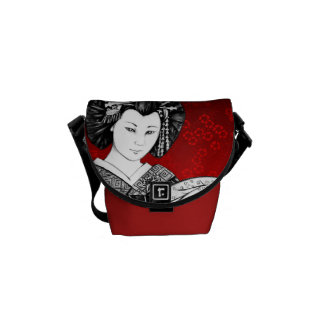 Bolsa Messenger Geisha Rojo y Negro