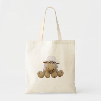 Bolsa oveja color beig de crochet o ganchillo