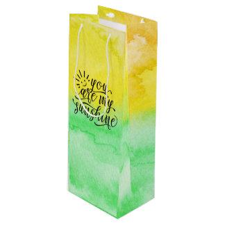 Bolsa Para Vino Acuarela del verde amarillo usted es mi sol
