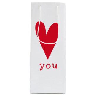 Bolsa Para Vino Ámele el día de San Valentín rojo del corazón del