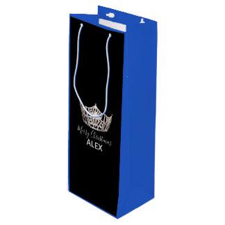 Bolsa Para Vino Bolso-Navidad azul del regalo de la corona de