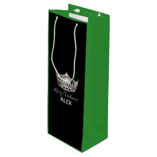 Bolsa Para Vino Bolso-Navidad de plata del regalo del verde de la
