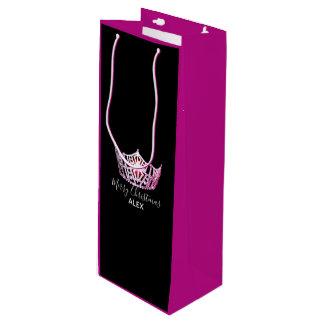 Bolsa Para Vino Bolso-Navidad fucsia del regalo de la corona