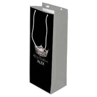 Bolsa Para Vino Bolso-Navidad gris del regalo de la corona de