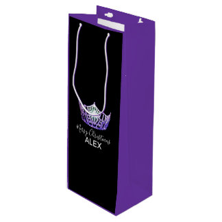 Bolsa Para Vino Bolso-Navidad púrpura del regalo de la corona