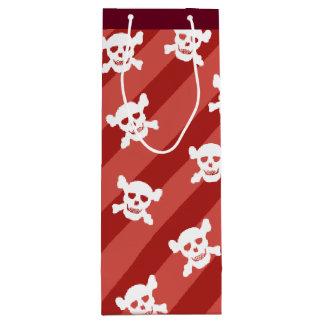 Bolsa Para Vino Cráneo blanco y bandera pirata en rayas rojas