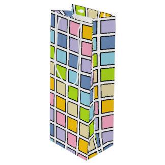 Bolsa Para Vino Cuadrados en colores pastel resumidos negro del