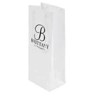 Bolsa Para Vino Dama de honor personalizada blanco y negro