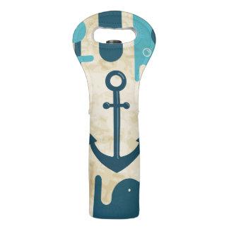 Bolsa Para Vino Diseño náutico blanco del ancla con la cuerda