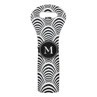 Bolsa Para Vino Edad Monogam blanco y negro elegante del jazz
