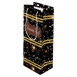 Bolsa Para Vino El oro de las estrellas alinea el bolso del regalo