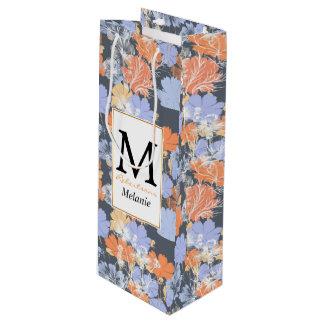 Bolsa Para Vino Estampado de flores anaranjado violeta gris del