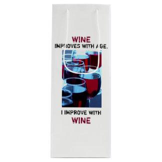 Bolsa Para Vino Foto hermosa del vino rojo con tipografía chistosa