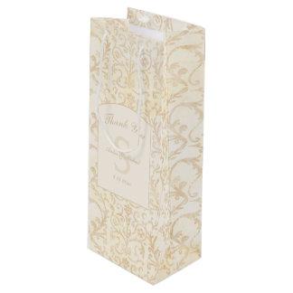 Bolsa Para Vino La nata floral del damasco y el boda beige le