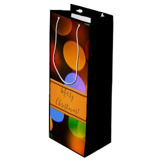 Bolsa Para Vino Luces de navidad multicoloras. Añada el texto o