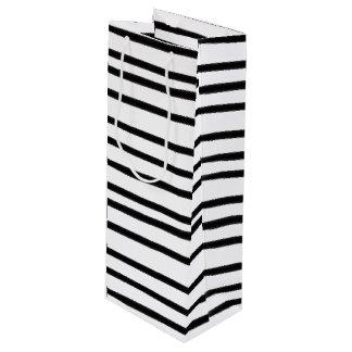 Bolsa Para Vino Mano abstracta rayada blanco y negro enrrollada