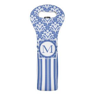 Bolsa Para Vino Monograma retro azul y blanco fresco del damasco