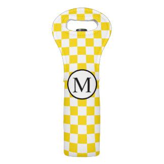 Bolsa Para Vino Monograma simple con el tablero de damas amarillo