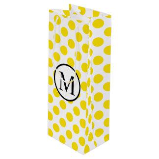 Bolsa Para Vino Monograma simple con los lunares amarillos