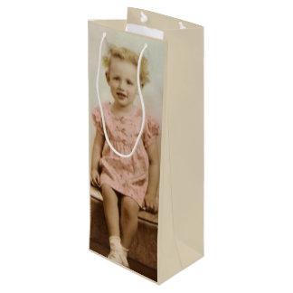 Bolsa Para Vino Pequeño chica rubio del vintage en bolso rosado
