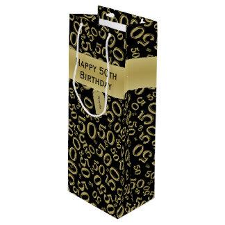 Bolsa Para Vino Personalice:  50.o oro feliz del cumpleaños/(w)