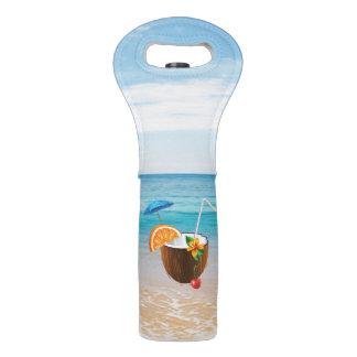 Bolsa Para Vino Playa tropical, cielo azul, arena del océano, coco