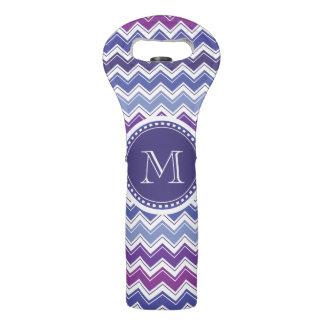 Bolsa Para Vino Púrpura del monograma de Chevron y blanco azules