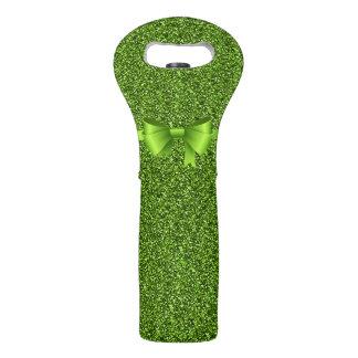 Bolsa Para Vino Purpurina verde con el arco verde