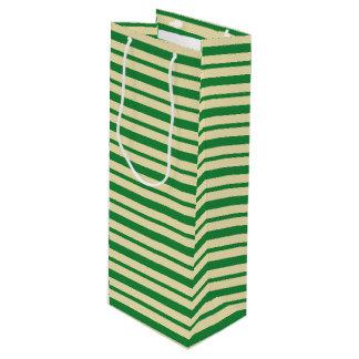 Bolsa Para Vino Rayas verde oscuro y beige gruesas y finas